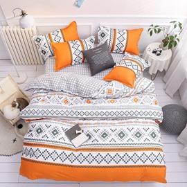 Geometric Shapes Colorfast Orange Duvet Cover Set 4-Piece Reactive Printing Polyester Zipper Bedding Sets
