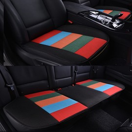 Cool Rainbow Black Colors Design Durable PET Material 3-Pieces Universal Car Seat Mat