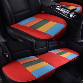 Cool Rainbow Red Colors Design Durable PET Material 3-Pieces Universal Car Seat Mat