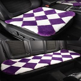 Fantastic White And Purple Lattice Style Design Short Plush Material Soft Universal Car Seat Mat