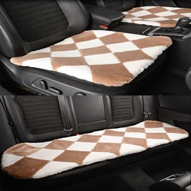 Attractive Khaki White Lattice Style Design Short Plush Material Soft Universal Car Seat Mat