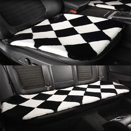 New Fashion Black And White Grid-Like Design 3-Pieces Universal Car Seat Mat