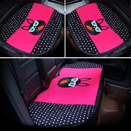 Cool Cartoon Black Rabbit Pattern Design 3-Pieces Front And Rear Car Seat Mat