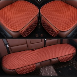 Luxury Brown Diamond Design PET Material 3-Pieces Set No Back Car Seat Mat