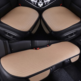 Fresh Color Durable PET Material Good Breathability Universal 3-Pieces Five Car Seat Mat