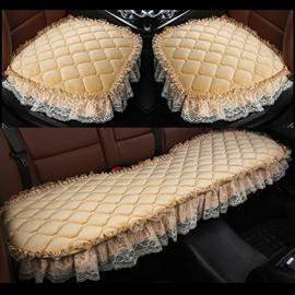 Pure Color Diamond Lattice Pattern Double Lace Decoration Seat Cover