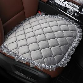 Pure Color Diamond Lattice Pattern Suede Lace Car Seat Protection