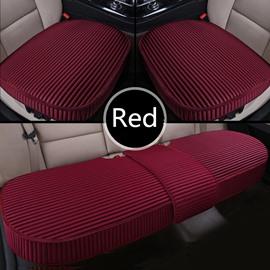 Simple Style Plain Pattern Linen 3-pieces Car Seat Mat