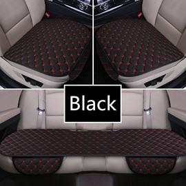 Modern Style Plaid Pattern Linen Material 3-pieces Car Seat Mat