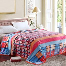 Fashion Bright Color Checks Thicken Geometric Blanket