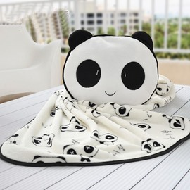 Creative Cute and Lovely Panda Pattern Dual Use Throw Pillow and Blanket