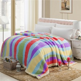 Colorful Stripes Printing Top Class Raschel Blanket