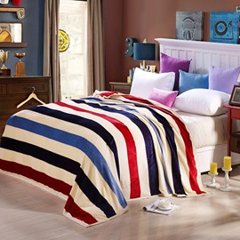 Faddish Colorful Stripes Design Anti-pilling Bed Blanket