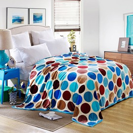 Lovely Colorful Polka Dots Printed Bed Blanket Endurable Skin-friendly