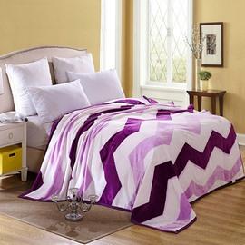 Purple Wave Print Super Cozy Flannel Blanket