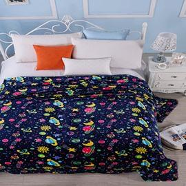 Super Soft Adorable Cartoon Planets Print Polyester Blanket