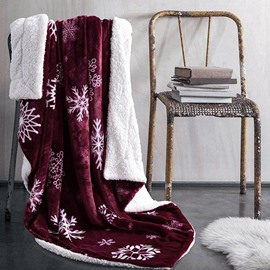 Excellent Snowflake Print Burgundy Soft Flannel Blanket