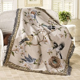 Stunning Country Style Flowers and Birds Print Home Decorative Throw Blanket