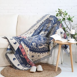 Vintage Style Zodiac Pattern Design Cotton Versatile Throw Blanket