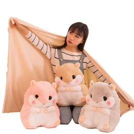 Cute Hamster Design Dual-Use Throw Pillow/Blanket