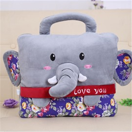 Gray Elephant Design Dual-Use Portable Throw Pillow /Blanket