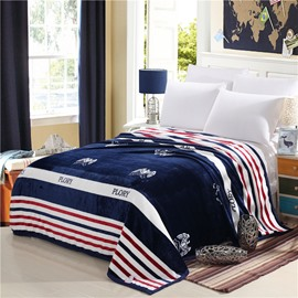 Youth Energy Blue Red and White Stripes Printed Flannel Bed Blankets