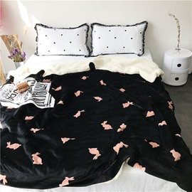 Peach Pink Rabbits Pattern Black Fluffy Super Soft Bed Blankets