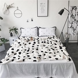 Black Spot Printed White Nordic Style Fluffy Super Soft Bed Blankets