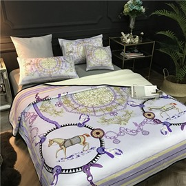 Dream Catcher and Horses Luxury Style Reversible Fuzzy Super Soft Bed Blanket