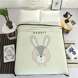 Cartoon Rabbit Printed Plush Reversible Sherpa Nordic Fluffy Bed Blanket