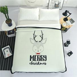 Merry Christmas Reindeer Printed Plush Reversible Sherpa Nordic Fluffy Bed Blanket