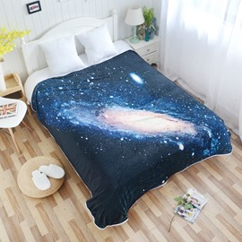 Mysterious Galaxy Space and Twinkle Stars Pattern Flannel Bed Blankets