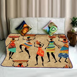 Ancient Egyptian Character with Pottery Pattern Flannel Bed Blankets