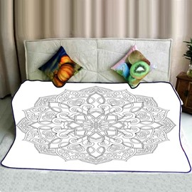 Chic Mandala Pattern Exotic Style White Flannel Bed Blankets