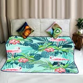 Tropical Flamingo and Foliage Design Flannel Bed Blankets