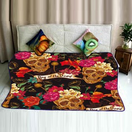 Skulls and Flowers Blooming Pattern Flannel Super Soft Bed Blankets