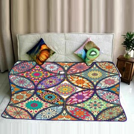 Crossing Mandala Pattern Ethnic Style Flannel Bed Blankets