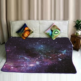 Galaxy Space and Twinkle Stars Pattern Flannel Bed Blankets