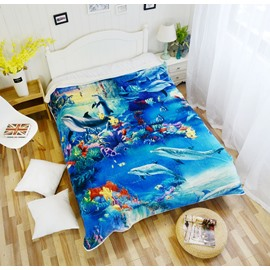 Underwater World and Dolphins Pattern Super Soft Flannel Blankets