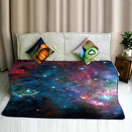 Galaxy Space with Stars Pattern Flannel Plush Super Soft Bed Blankets