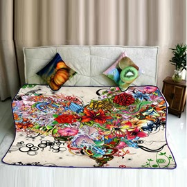 Chic Flowers Cluster Pattern Flannel Super Soft Bed Blankets