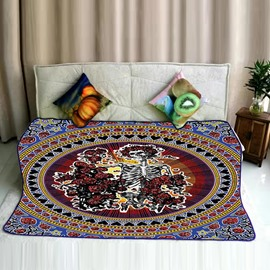 Skull and Roses Pattern Exotic Style Flannel Bed Blankets