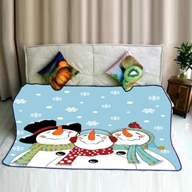 Snowmen Family Celebrating New Year Christmas Pattern Flannel Bed Blankets