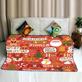 Merry Christmas Jingle Bells Celebration Pattern Flannel Bed Blankets