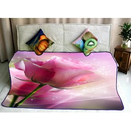 Pretty Pink Rose Printing Super Soft Flannel Bed Blankets