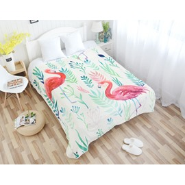 Green Plants with Flamingos Pattern Super Soft Flannel Bed