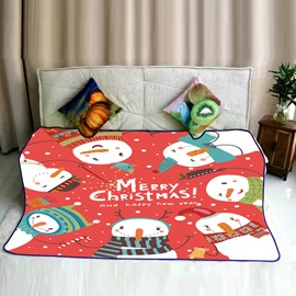 Merry Christmas Cartoon Snowmen Pattern Flannel Bed Blankets
