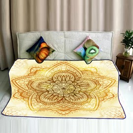Yellow Chic Floral Mandala Pattern Exotic Style Flannel Bed Blankets
