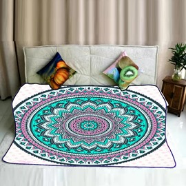 Blue Floral Mandala Pattern Exotic Style Flannel Bed Blankets