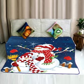 Happy New Year Snowmen Pattern Flannel Bed Blankets